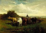 Edward Mitchell Bannister man on horseback, woman on foot driving cattle painting