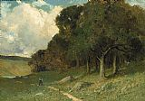Edward Mitchell Bannister man on path with trees in background painting
