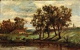 Edward Mitchell Bannister man with cows grazing near pond with house and trees in background painting
