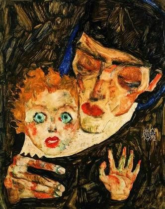 Egon Schiele Mother and son