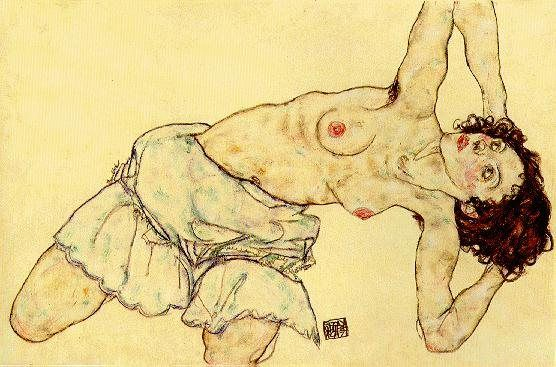 Egon Schiele Nude woman with a skirt