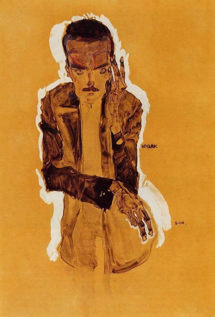 Egon Schiele Portrait of Eduard Kismack with Raised Left Hand