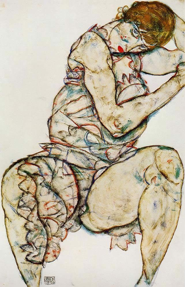 Egon Schiele Seated Woman with Her Left Hand in Her Hair