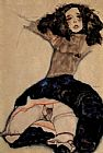 Egon Schiele Black haired girl with high skirt painting