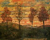 Egon Schiele Four Trees painting