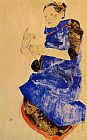 Egon Schiele Girl in a Blue Apron painting