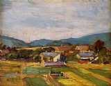 Egon Schiele Landscape in Lower Austria painting