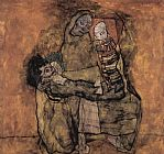 Egon Schiele Mother with two children painting