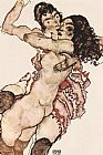Egon Schiele Pair of Women Women embracing each other painting