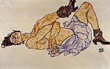 Egon Schiele Reclining Female Nude painting