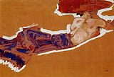 Egon Schiele Reclining Semi Nude with Red Hat Gertrude Schiele painting