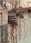 Egon Schiele Sailing ships in the waves exciting water the harbour of Trieste painting