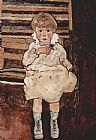 Egon Schiele Sitting child painting