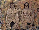 Egon Schiele Squatting women's pair painting