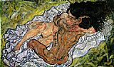 Egon Schiele The Embrace The Loving painting