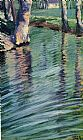Egon Schiele Trees Mirrored in a Pond painting