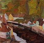 Egon Schiele Village by the River painting