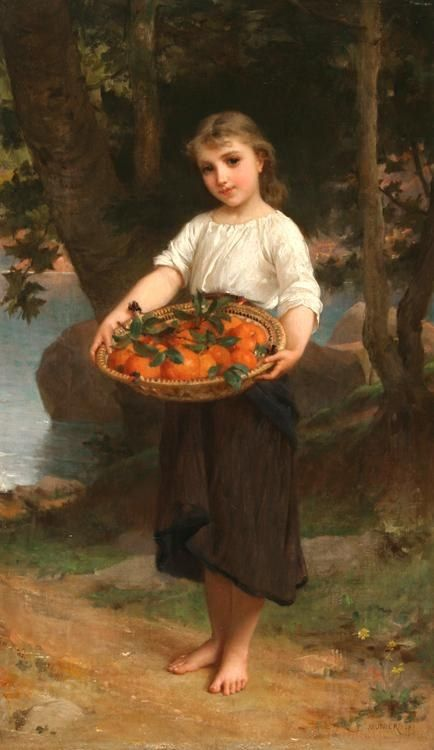 Emile Munier Girl with Basket of Oranges