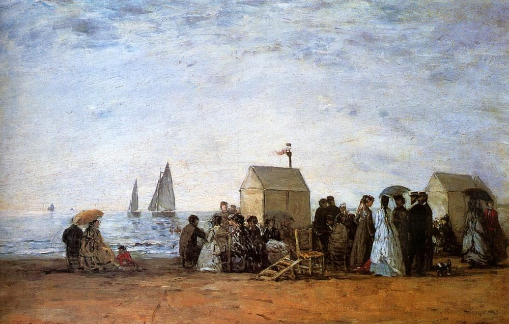 Eugene Boudin The Beach At Trouville