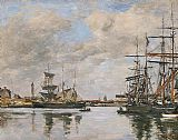 Eugene Boudin Trouville, Le Port painting