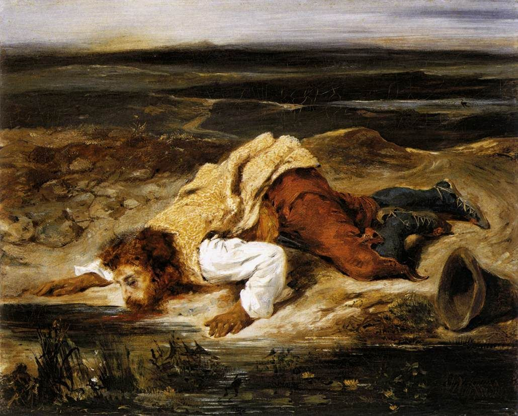 Eugene Delacroix A Mortally Wounded Brigand Quenches his Thirst
