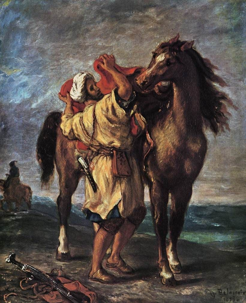 Eugene Delacroix Marocan and his Horse