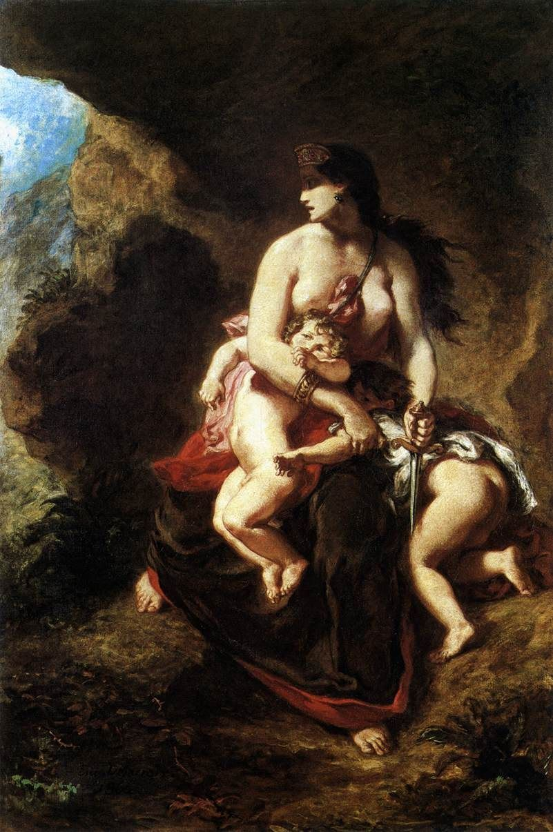 Eugene Delacroix Medea about to Kill her Children
