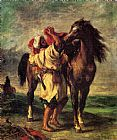 Eugene Delacroix A Moroccan Saddling A Horse painting
