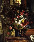 Eugene Delacroix A Vase of Flowers on a Console painting