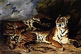 Eugene Delacroix A Young Tiger Playing with its Mother painting
