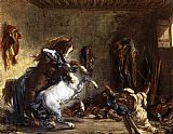 a grey horse Canvas Prints - Arab Horses Fighting in a Stable