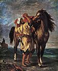 Eugene Delacroix Marocan and his Horse painting