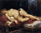 Eugene Delacroix Odalisque Reclining on a Divan painting