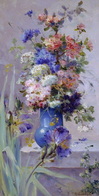 Eugene Henri Cauchois Summer Flowers with Japanese Iris