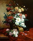 Still Life paintings - Roses and Dahlias by Eugene Henri Cauchois