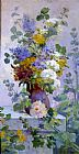 gathering summer flowers in a devonshire garden Canvas Prints - Summer Flowers with Hollyhocks