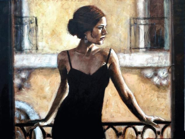 Fabian Perez BRUNETTE AT THE BALCONY
