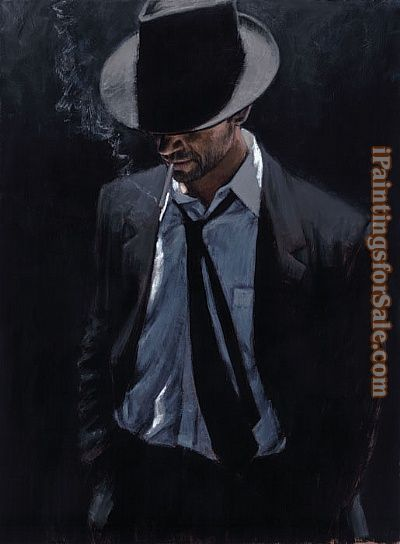 Black Man Paintings Fabian Perez Man in Black Suit