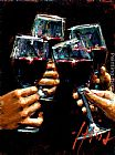 Wine paintings - Brindis Con Tinto II by Fabian Perez