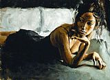 Fabian Perez Renee on Bed II painting