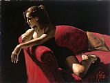 fabian perez Paintings - Rojo Sillion III Second State