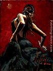 Fabian Perez dancer in red black dress painting