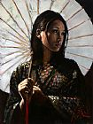 Fabian Perez michiko with white umbrella painting