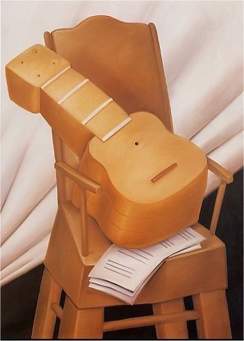 Fernando Botero Guitar and Chair 1983