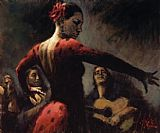 Flamenco Dancer Study for Tablado Flame painting