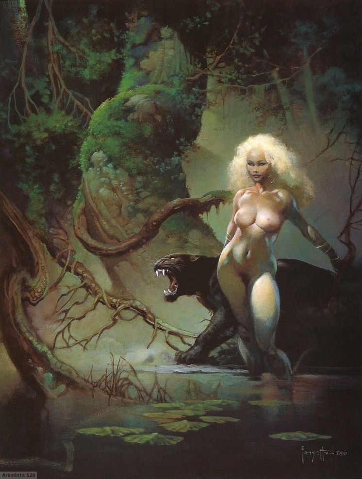 Frank Frazetta Cat Girl II