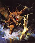 Frank Frazetta Beauty vs. Beast painting