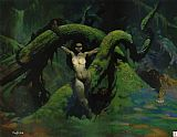 Frank Frazetta Cat Girl painting