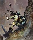Frank Frazetta Warrior With Ball and Chain painting
