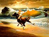 Frank Frazetta Wild Ride Nude Girl II painting